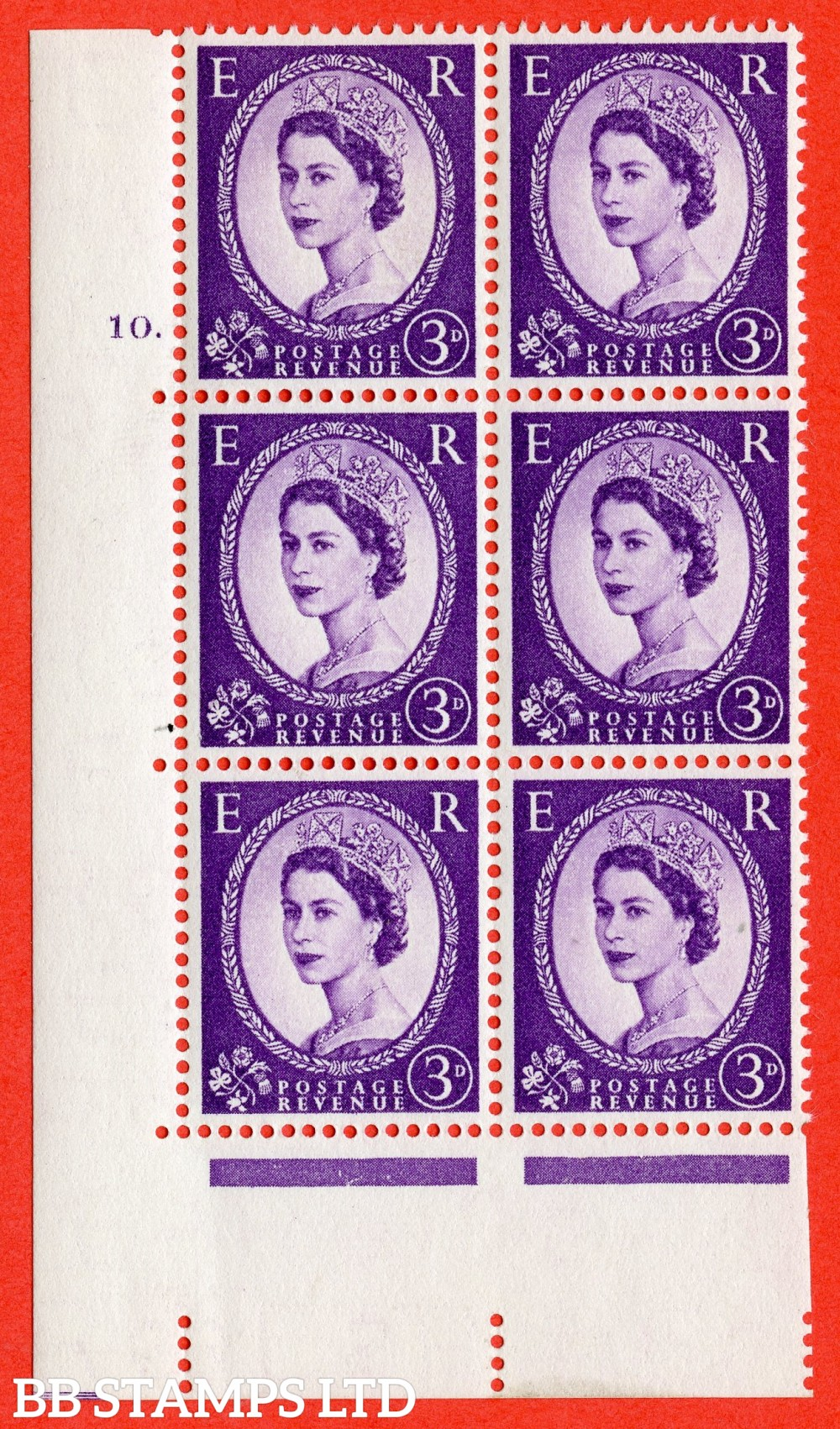 "SG. 545. S68. 3d. Deep - Lilac. A fine lightly mounted mint "" cylinder 10 dot "" control block of 6 with perf type A E/I."