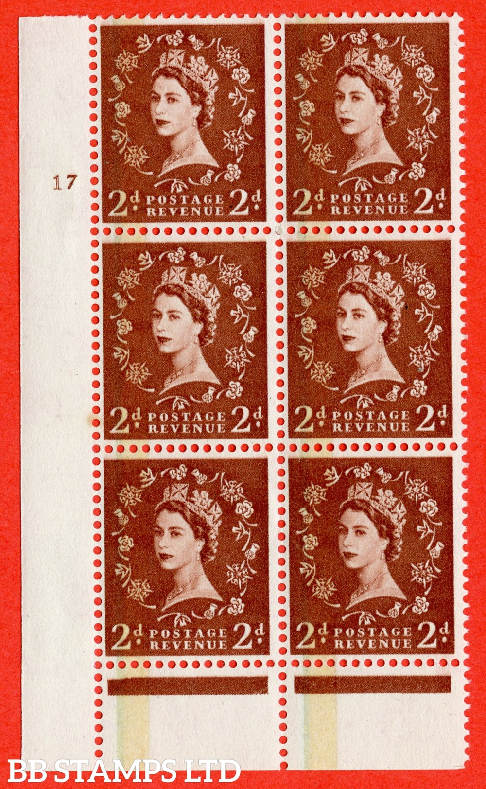 "SG. 605. S43. 2d Red - brown. A fine lightly mounted mint "" cylinder 17 no dot "" control block of 6 with perf type B I/P."