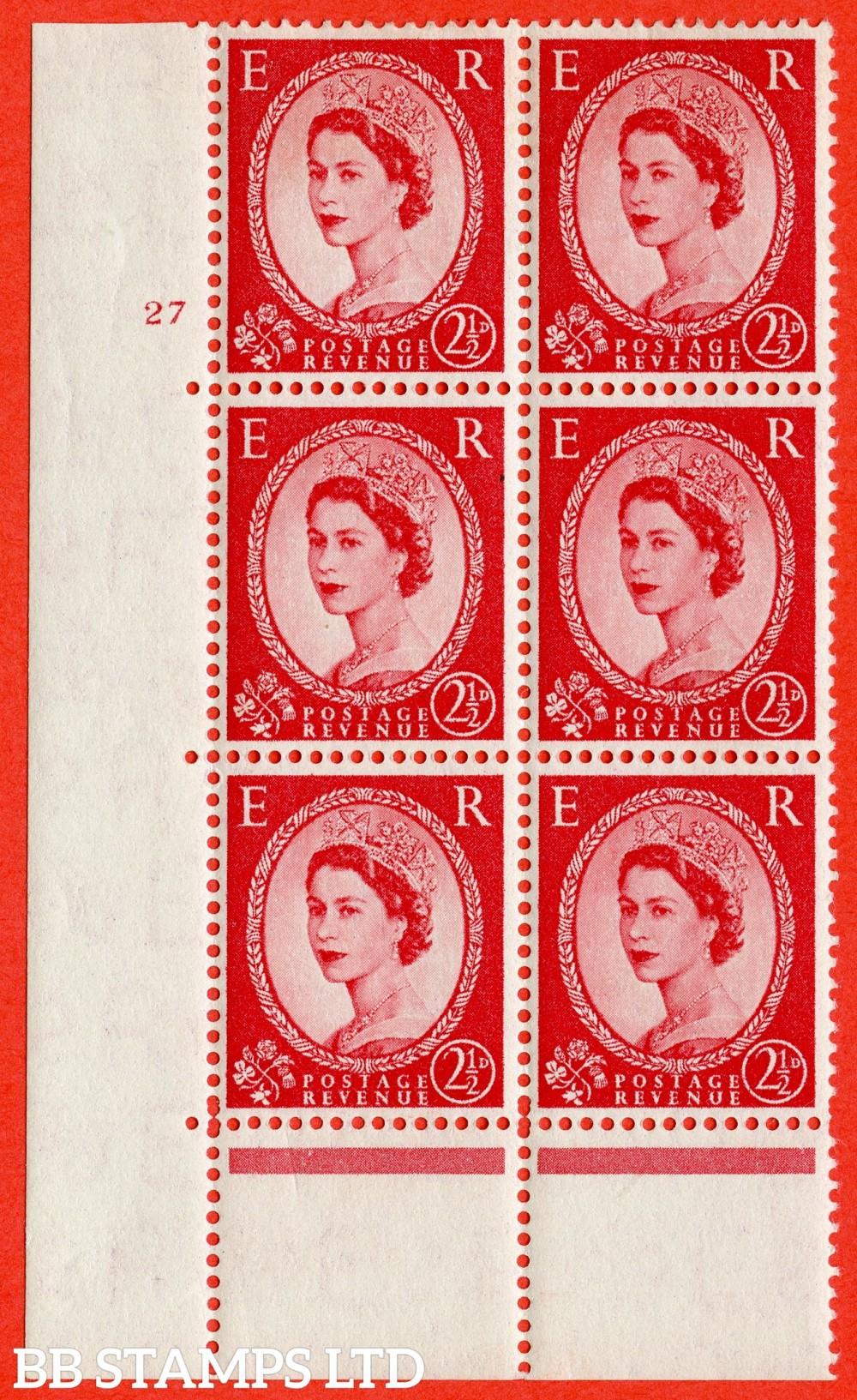 "SG. 544. S52. 2½d. Carmine - Red. A fine lightly mounted mint "" cylinder 27 no dot "" control block of 6 with perf type A E/I."