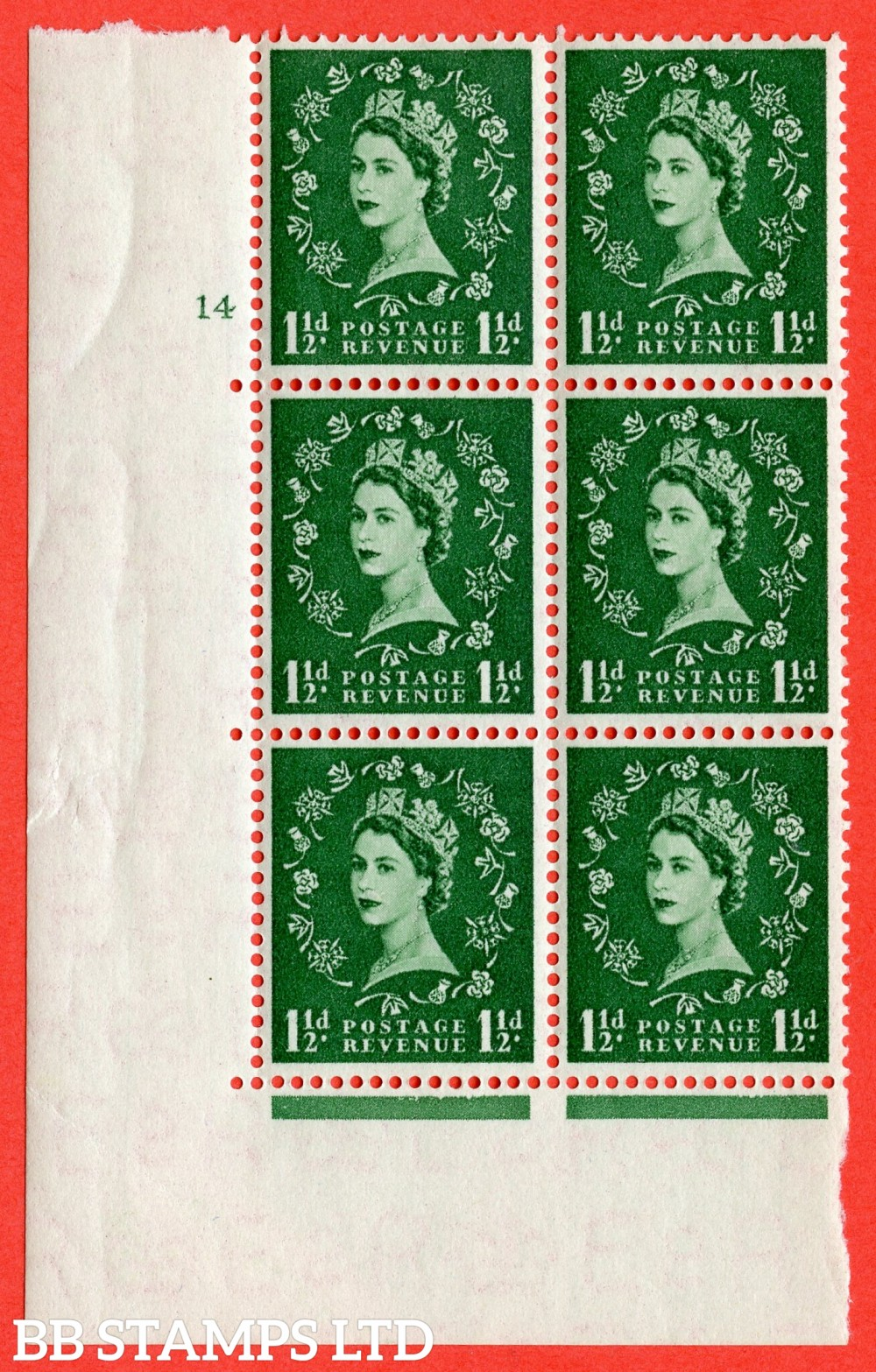 "SG. 542. S26. 1½d. Green. A fine lightly mounted mint "" cylinder 14 no dot "" control block of 6 with perf type A E/I"