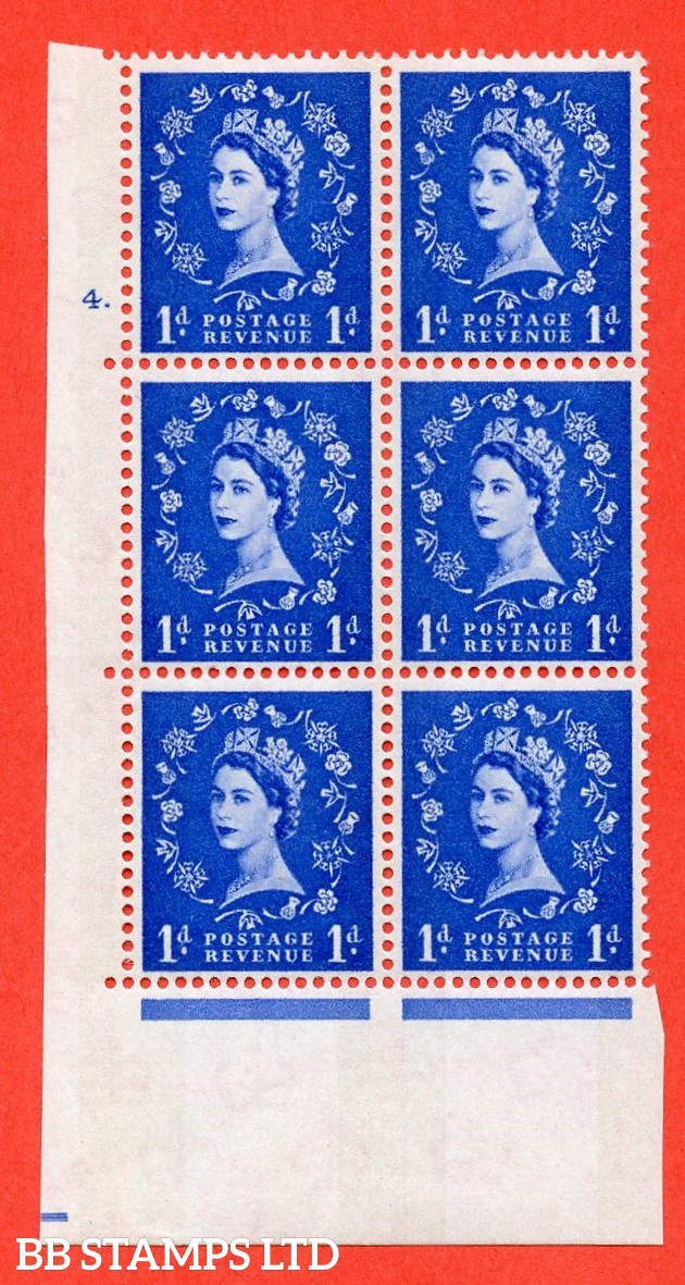 "SG.611. S22. 1d  Ultramarine. A fine mounted mint "" cylinder 4 dot "" control block of 6 with perf type A (E/I). Blue Phosphor White paper"