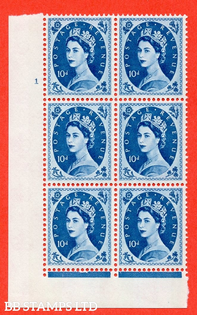 "SG.617d. S133. 10d Prussian Blue. A fine mounted mint "" cylinder 1 no dot "" control block of 6 with perf type FL (I/E). violet Phosphor 9½mm Band"