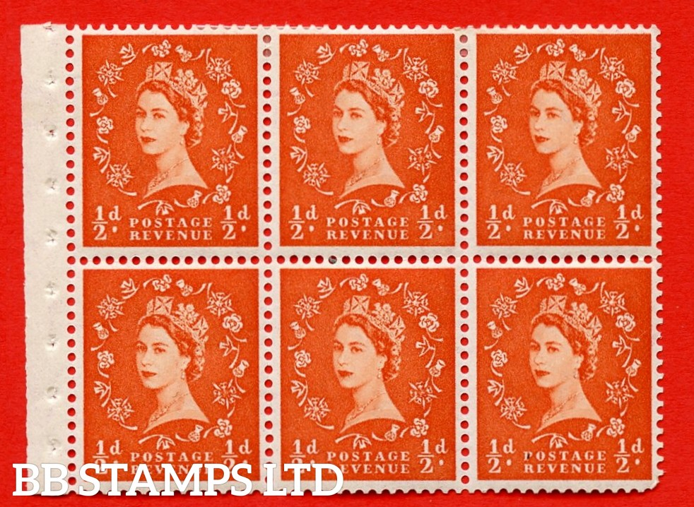 SG. 515. SB1. ½d orange - red. A fine MOUNTED MINTexample. Complete Booklet pane of 6. Perf Type IR. Good perfs