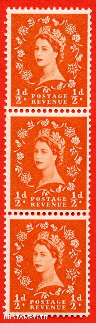 "SG. 515. S1c. ½d Orange-Red. A superb UNMOUNTED MINT. Vertical coil of 3.  Variety ""A"" flaw (Vert.coil,Roll 3)."