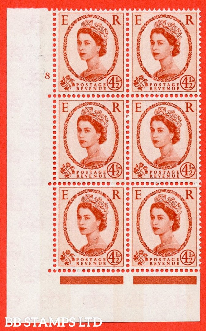 "SG.616b. S98. 4½d Chestnut. Photo.  A superb UNMOUNTED MINT "" cylinder 8 no dot "" control block of 6 with perf type A (E/I). Blue Phosphor White paper."