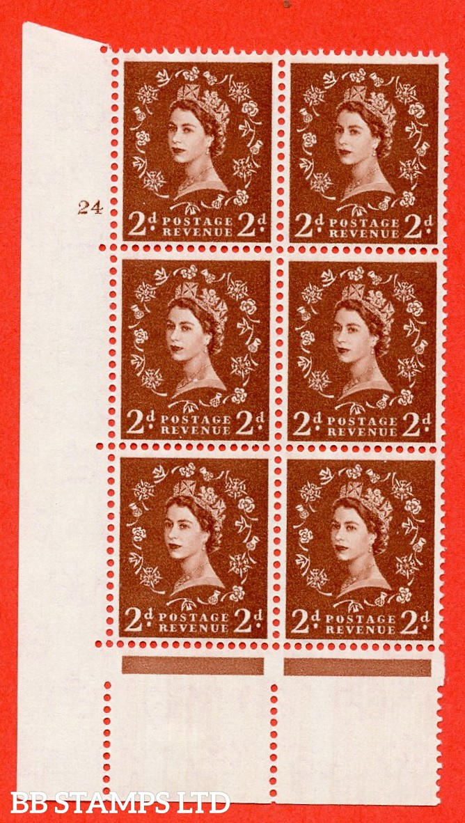 "SG. 573. S40. 2d light red brown . A fine mounted mint "" cylinder 24 no dot "" control block of 6 with perf type A E/I. CREAM paper."