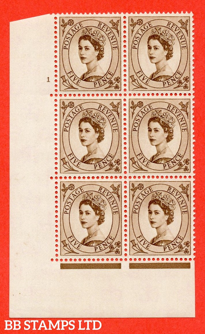 "SG. 578 S101. 5d Brown  A superb UNMOUNTED MINT "" cylinder 1 no dot "" control block of 6 with perf type A (E/I)."