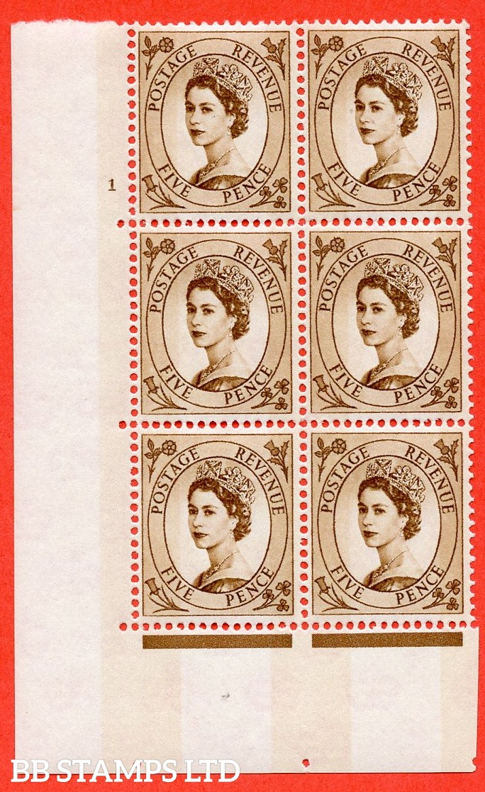 """SG.616c. S103. 5d Deep Brown. A superb UNMOUNTED MINT """" cylinder 1 no dot """" control block of 6 with perf type A (E/I). violet Phosphor 9½mm Band."""