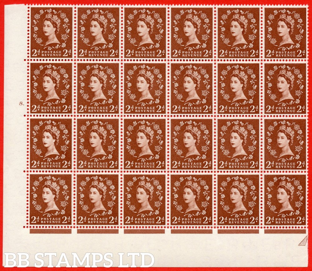 SG. 543b. S38f. 2d. Light Red-brown. A superb MOUNTED MINT example from cylinder 8 dot. corner marginal positional Block of 24. With a Tadpole flaw ERROR R.17/6 variety.(variety is UM)