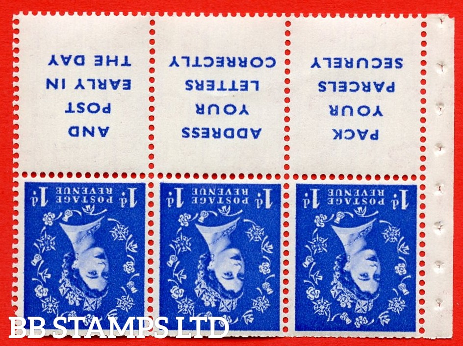 SG. 516Lawi. SB25a. 1d ultramarine. A fine UNMOUNTED MINT. WATERMARK INVERTED. Complete booklet pane of 6. Perf type (Ieb) with Trimmed PERFS.