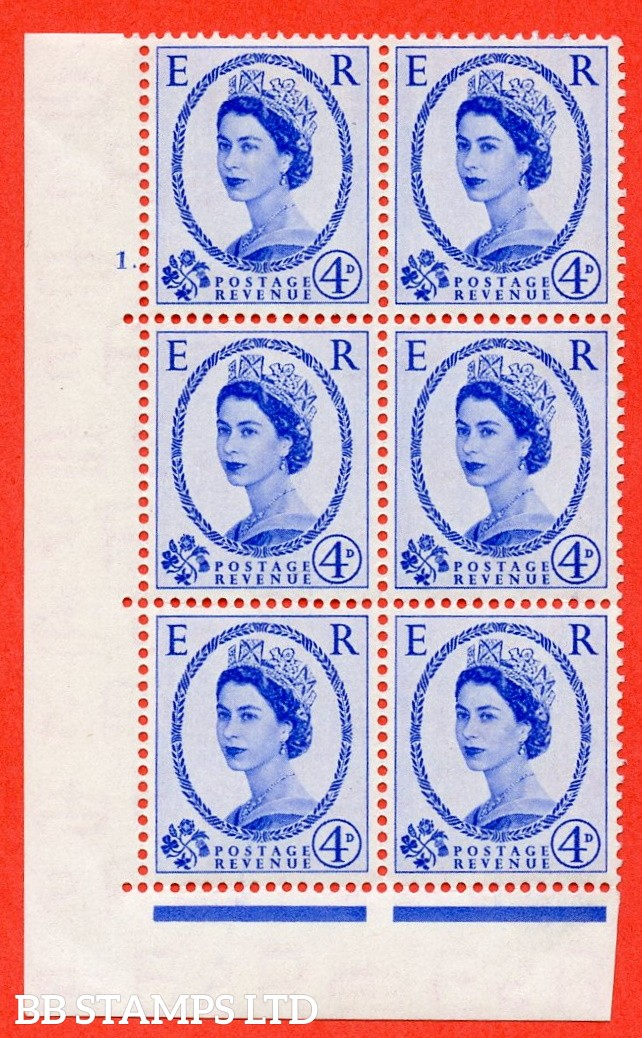 "SG. 521. S81. 4d Ultramarine. A fine mounted mint "" cylinder 1 no dot "" control block of 6 with perf type B I/P."
