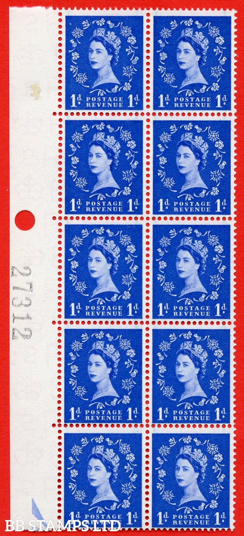 SG. 562. S15a. 1d Ultramarine. A superb UNMOUNTED MINT example. Left marginal positional Block of 10. With a spot on thistle head. ERROR. R.6/1 variety.