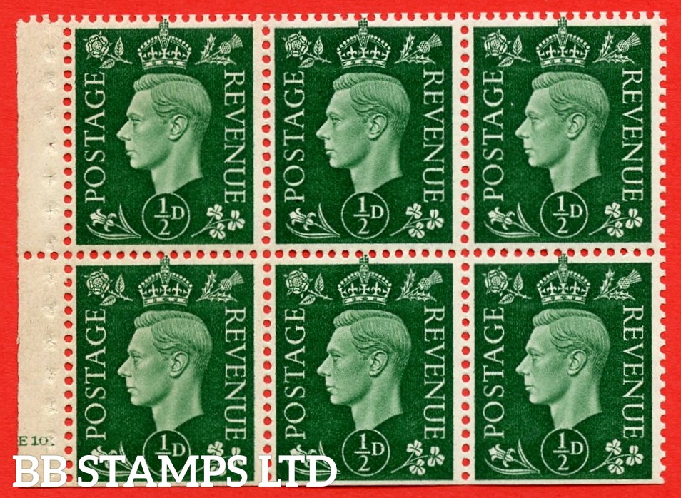 SG. QB1 Perf Type B3A(P). ½d Green x 6 Pane, UNMOUNTED MINT Watermark Upright. Cylinder Pane E10 dot ( SG. 462b ) Perf Type B3A(P). Trimmed Perfs.