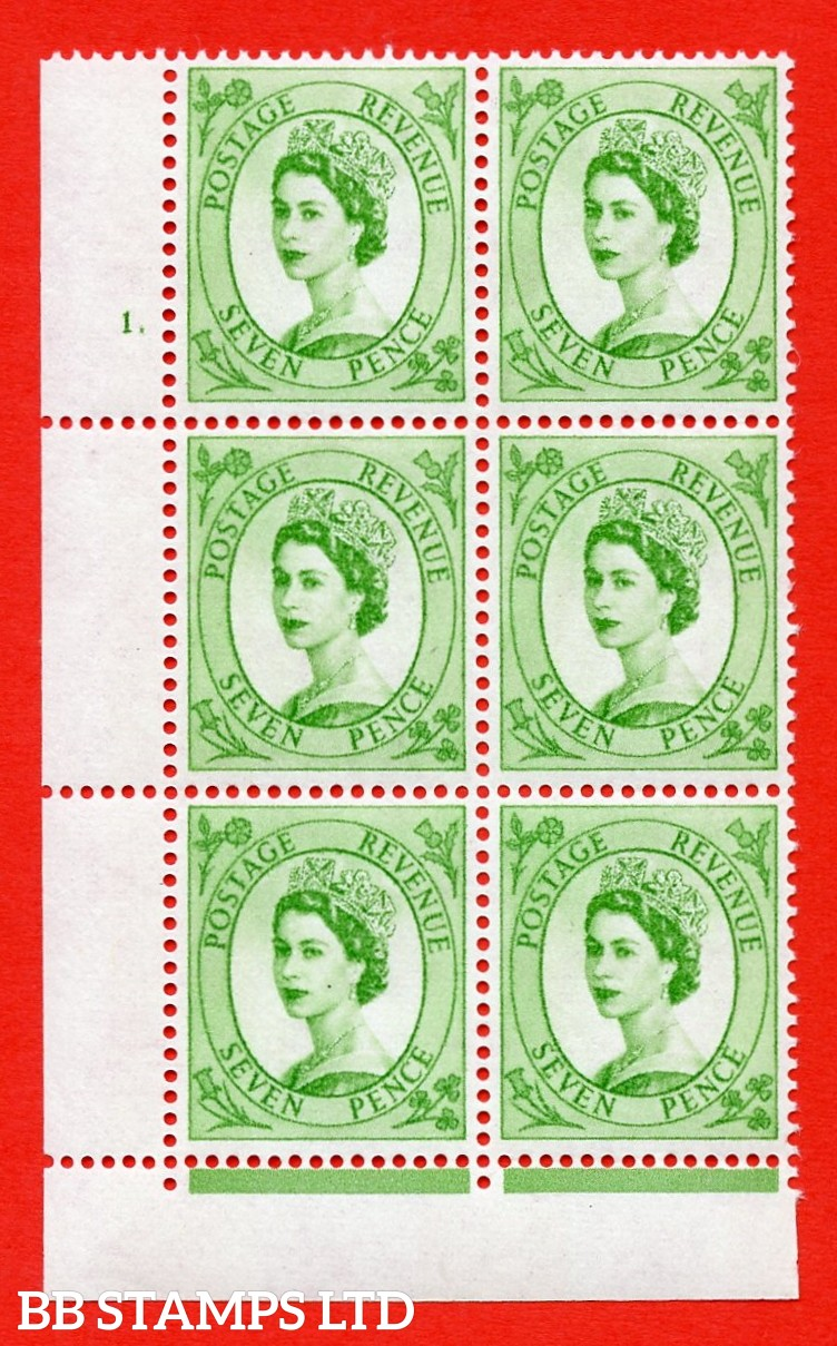 "SG.617a. S118. 7d Bright Green. A superb UNMOUNTED MINT "" cylinder 1 dot "" control block of 6 with perf type FL (P/E). violet Phosphor 9½mm Band."
