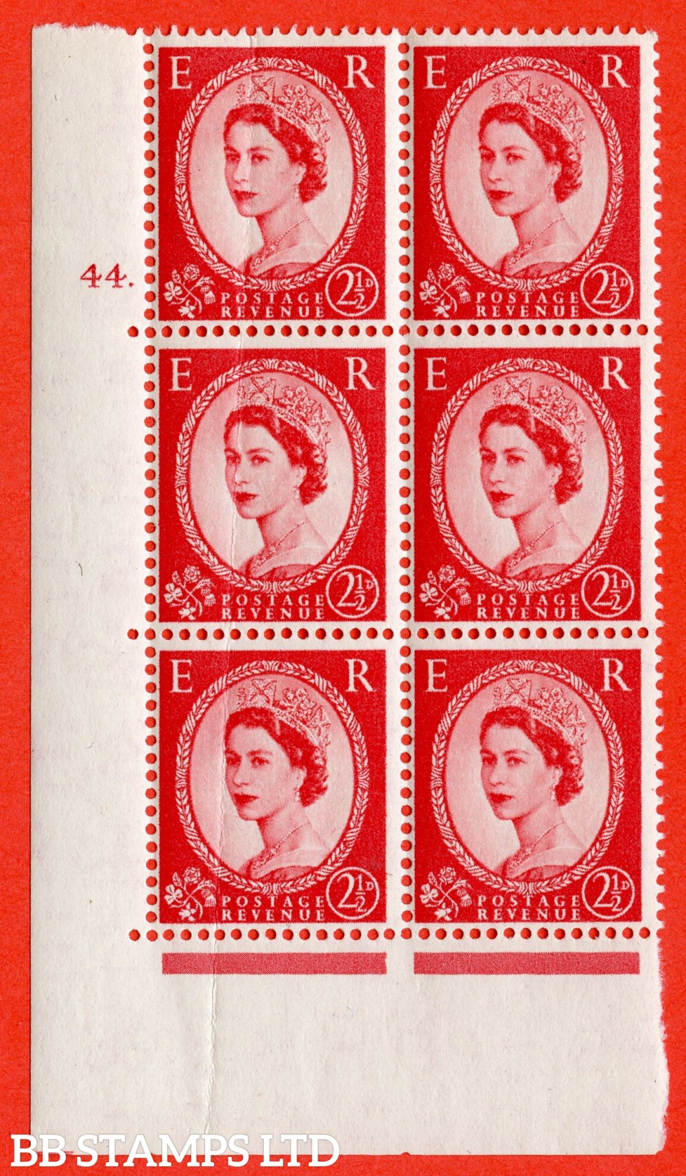 "SG. 544. S52. 2½d. Carmine - Red. A fine lightly mounted mint "" cylinder 44 dot "" control block of 6 with perf type A E/I."