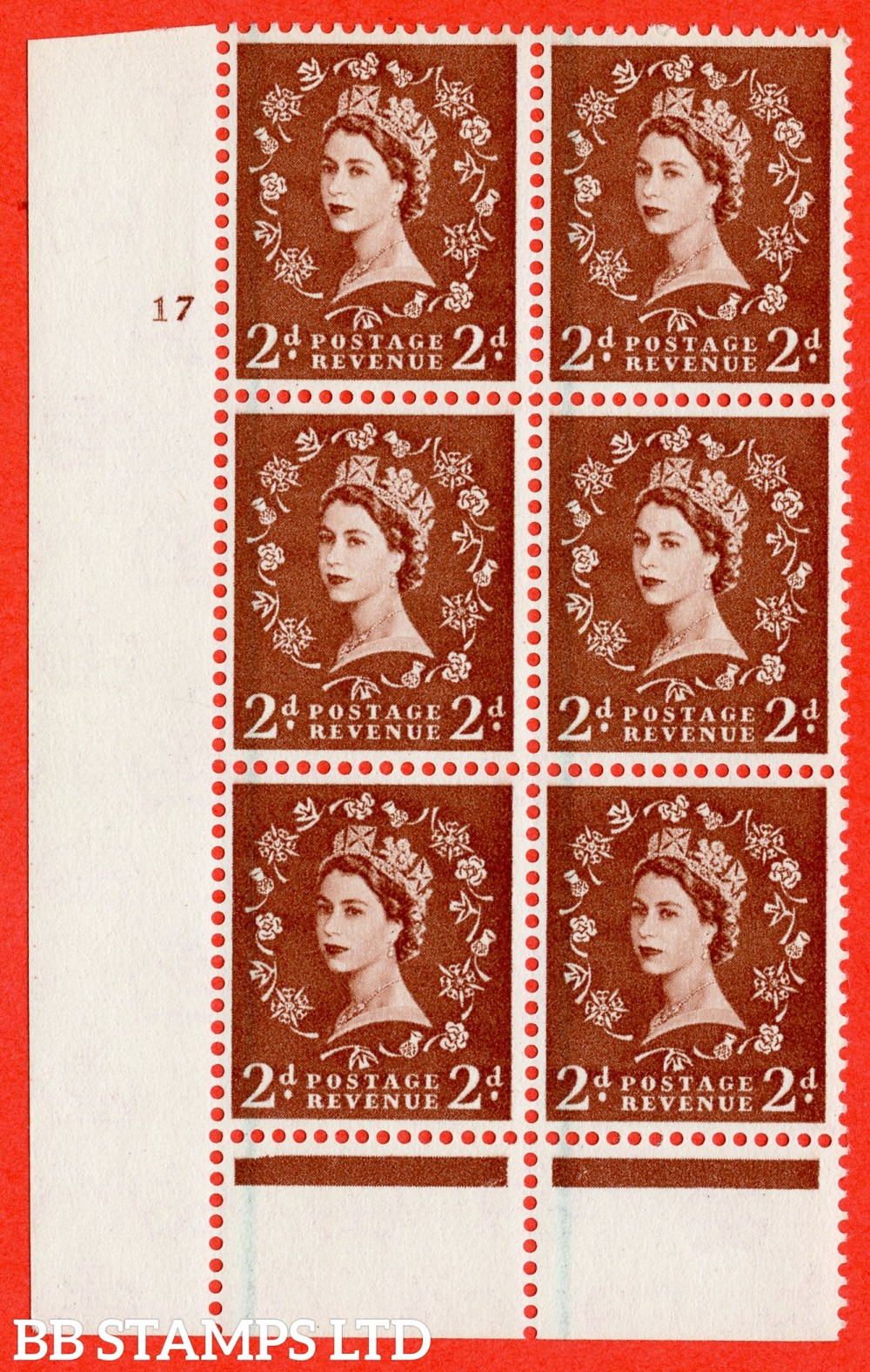 """SG. 590. S42. 2d Red - brown. A superb UNMOUNTED MINT"""" cylinder 17 no dot """" control block of 6 with perf type B I/P."""