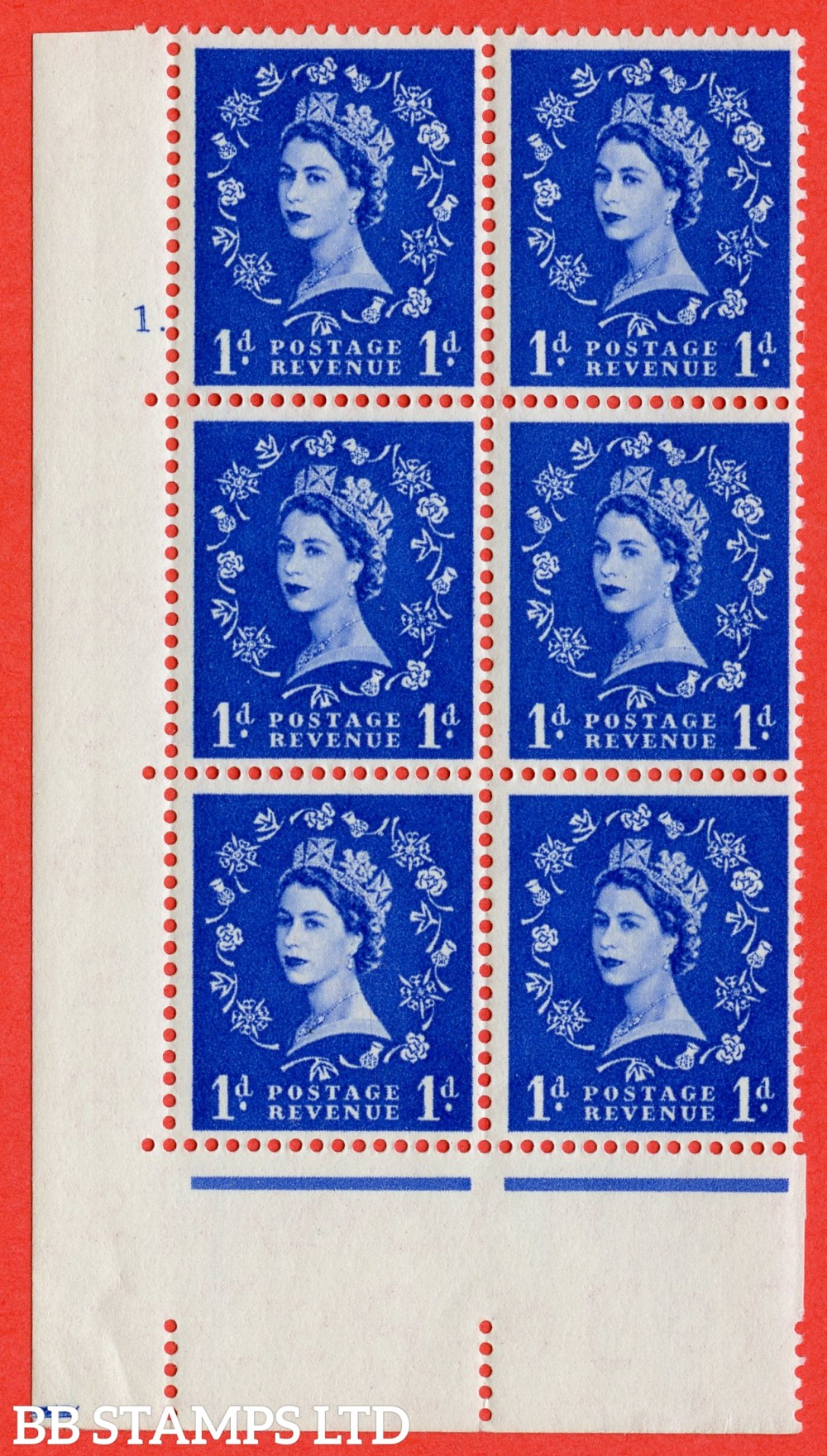 "SG. 541. S14. 1d. Ultramarine. A superb UNMOUNTED MINT "" cylinder 1 dot "" control block of 6 with perf type A E/I"