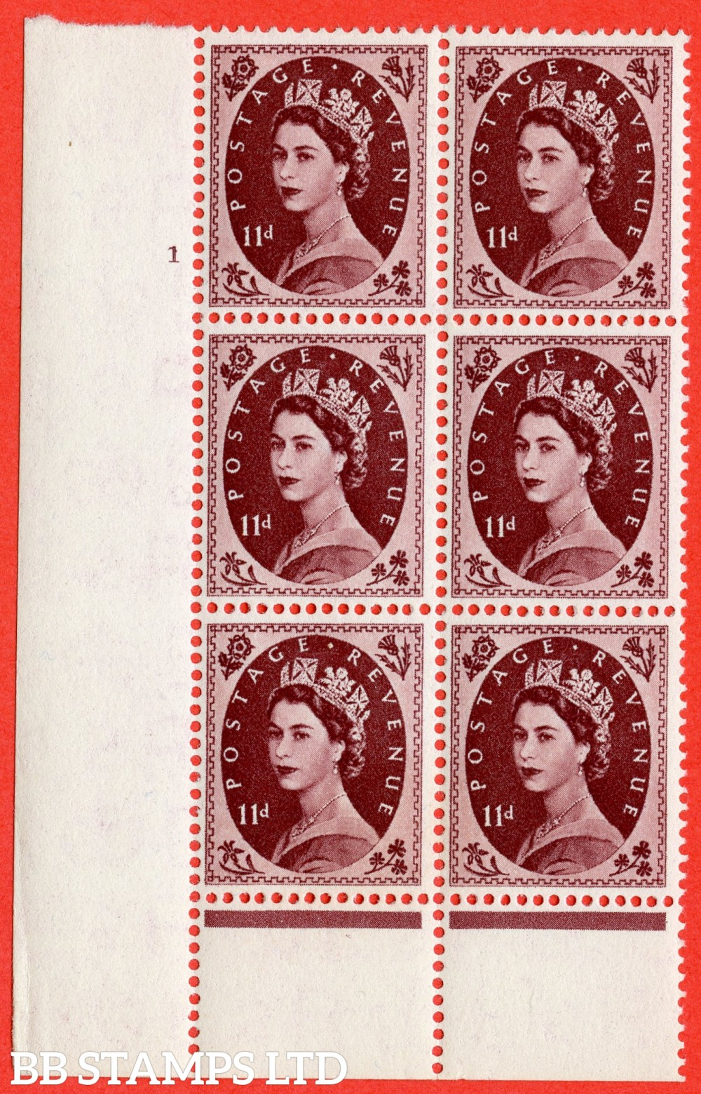 "SG. 553. S135. 10d. Brown - purple. A superb UNMOUNTED MINT "" cylinder 1 no dot "" control block of 6 with perf type B I/P."