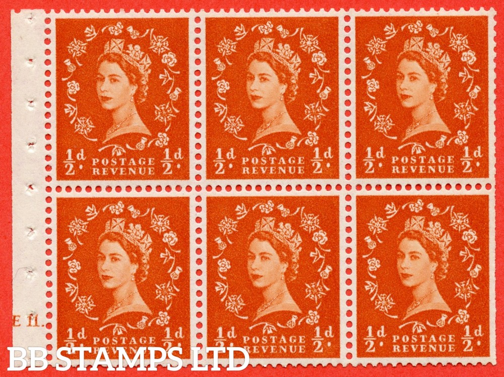 "SG. 570. SB7. ½d orange - red. A fine UNMOUNTED MINT cylinder "" E11 dot "" booklet pane of 6. Perf type (Iet) with TRIMMED PERFS. Smooth edge."