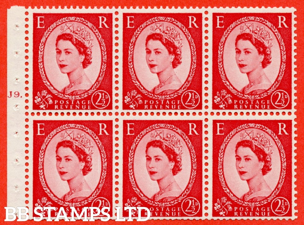 "SG. 544b. SB81. 2½d carmine - red. A fine mounted mint "" J9 T dot "" booklet pane of 6. Perf type (Iet) with TRIMMED PERFS. Smooth edge."