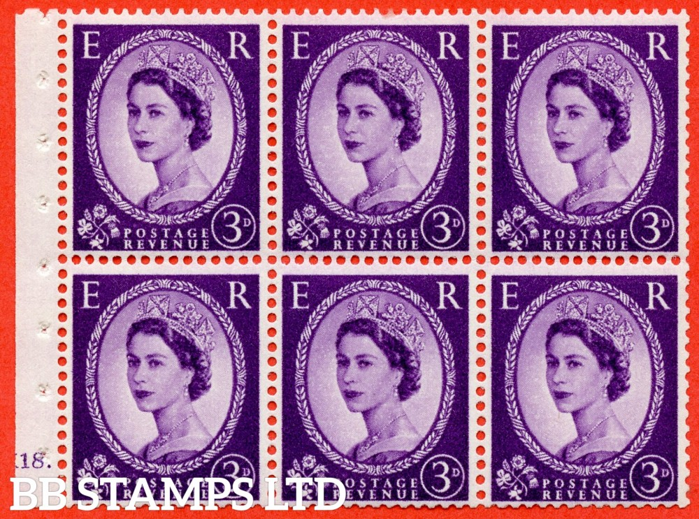 "SG. 575. SB92. 3d Deep Lilac. A fine UNMOUNTED MINT cylinder "" K18 dot "" booklet pane of 6. Perf type (Iet) with GOOD PERFS. Smooth edge. Cream paper."