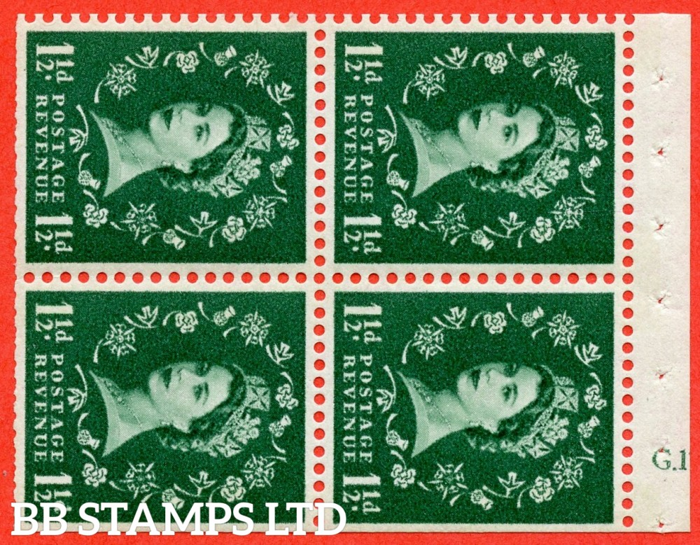 "SG. 612. SB74. 1½d Green. A fine UNMOUNTED MINT cylinder "" G.17 no dot "" booklet pane of 4. Perf type (I) with TRIMMED PERFS. Smooth edge. Cream Paper."