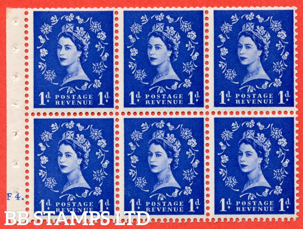 "SG. 541. SB26b. 1d ultramarine. A fine mounted mint cylinder "" F4 dot "" booklet pane of 6. Perf type (Ieb) with TRIMMED PERFS. Smooth edge. Listed variety "" Dot on Serif ""."