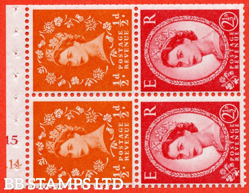 "SG. 570 / 574. SB13a. ½d Orange Red & 2½d Carmine Red Type II. A fine UNMOUNTED MINT cylinder "" E14 (½d) J15 (2½d) no dot "" booklet pane of 4. Perf type (I) with TRIMMED PERFS. Smooth edge. White paper."