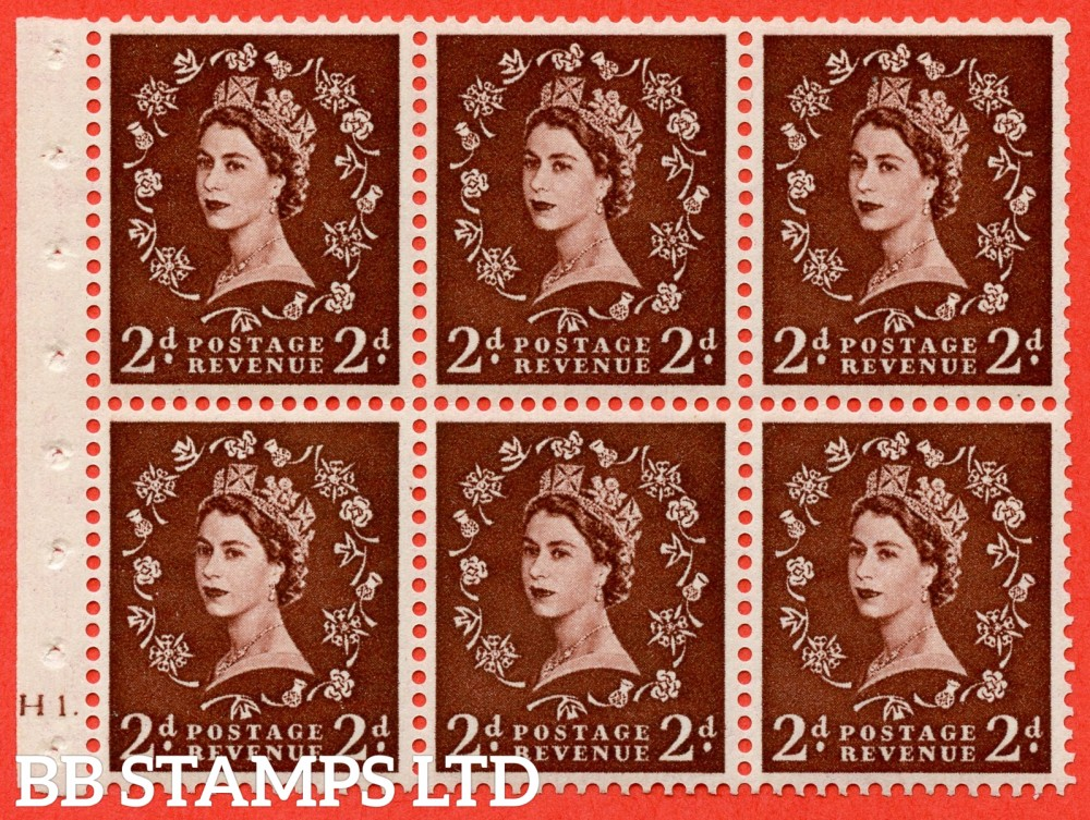 "SG. 518. SB76. 2d red - brown. A fine UNMOUNTED MINT cylinder "" H1 dot "" booklet pane of 6. Perf type (Ieb) with GOOD PERFS. Smooth edge."