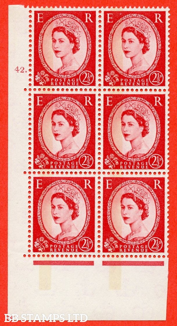 "SG.614b. S64. 2½d Carmine red. Letterpress A superb UNMOUNTED MINT "" cylinder 42 dot "" control block of 6 with perf type A (E/I). Blue Phosphor Cream paper."