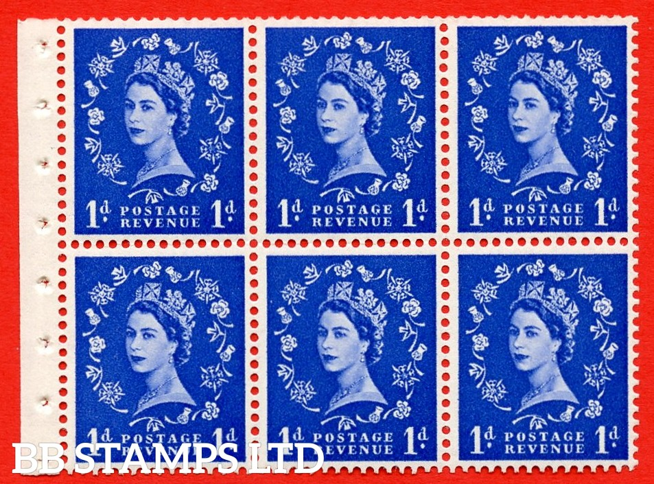 SG. 516L. SB20. 1d ultramarine. A fine UNMOUNTED MINT example. Complete Booklet pane of 6. Perf Type Iet. Good Perfs.