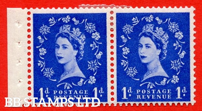 SG. 516N. SB22. 1d Ultramarine. A fine MOUNTED MINT. Complete booklet pane of 2 with perf type E. Good perfs.
