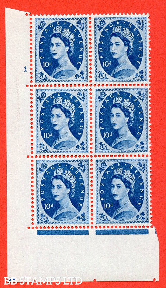"SG S131. 10d Prussian Blue  A fine mounted mint "" cylinder 1 dot "" control block of 6 with perf type A (E/I)."