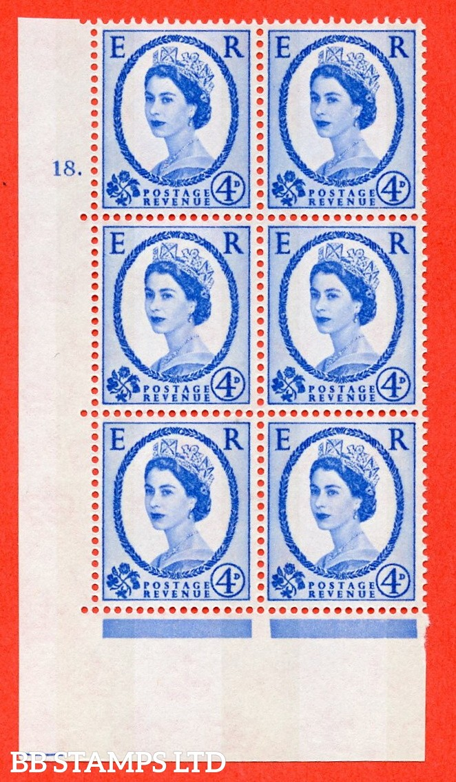 "SG.616a. S92. 4d Deep Ultramarine. A fine mounted mint "" cylinder 18 dot "" control block of 6 with perf type A (E/I). violet Phosphor 9½mm Band."
