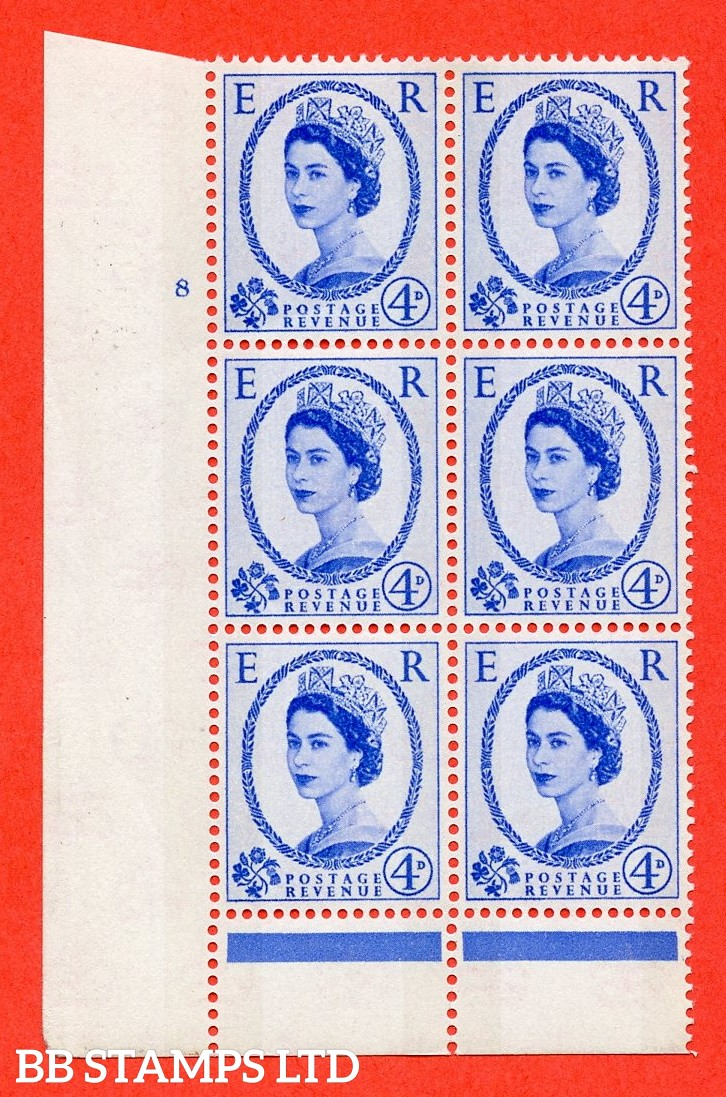 "SG.616. S89. 4d Ultramarine. A fine mounted mint "" cylinder 8 no dot "" control block of 6 with perf type B (I/P). Blue Phosphor Cream paper."