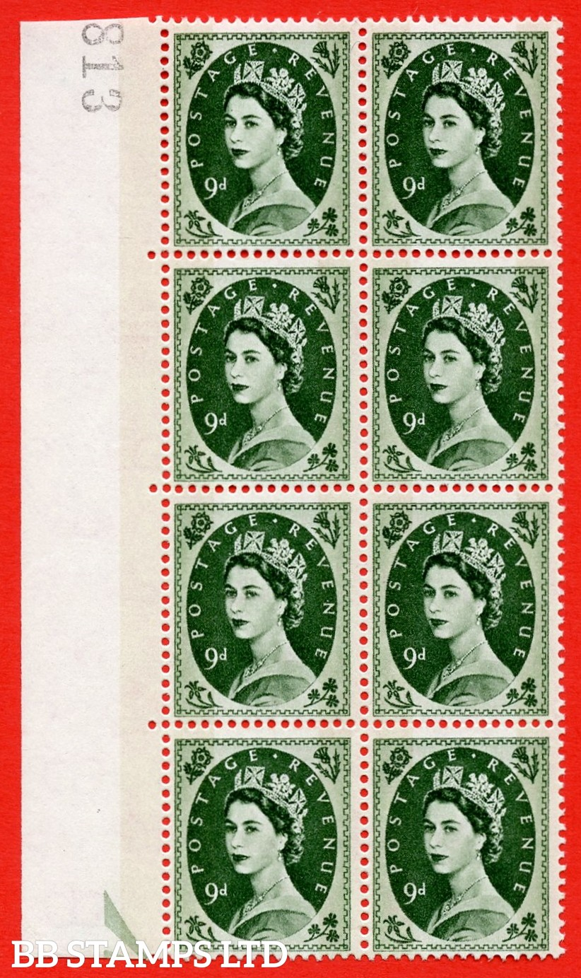 SG.617c. S128b. 9d Bronze Green. A superb UNMOUNTED MINT example. Left marginal positional block of 8. violet Phosphor 9½mm Band. With a broken daffodil ERROR. R.11/11 variety.