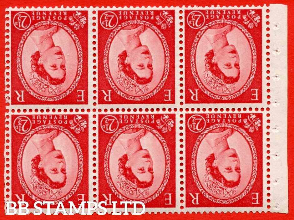 SG. 519bwi SB80. 2½d carmine - red. A fine UNMOUNTED MINT. WATERMARK INVERTED Complete booklet pane of 6. Perf type (IR) with Good PERFS.