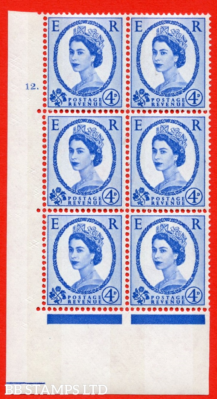 """SG.616a. S90. 4d Deep Ultramarine. A superb UNMOUNTED MINT """" cylinder 12 dot """" control block of 6 with perf type A (E/I). Blue Phosphor White paper"""