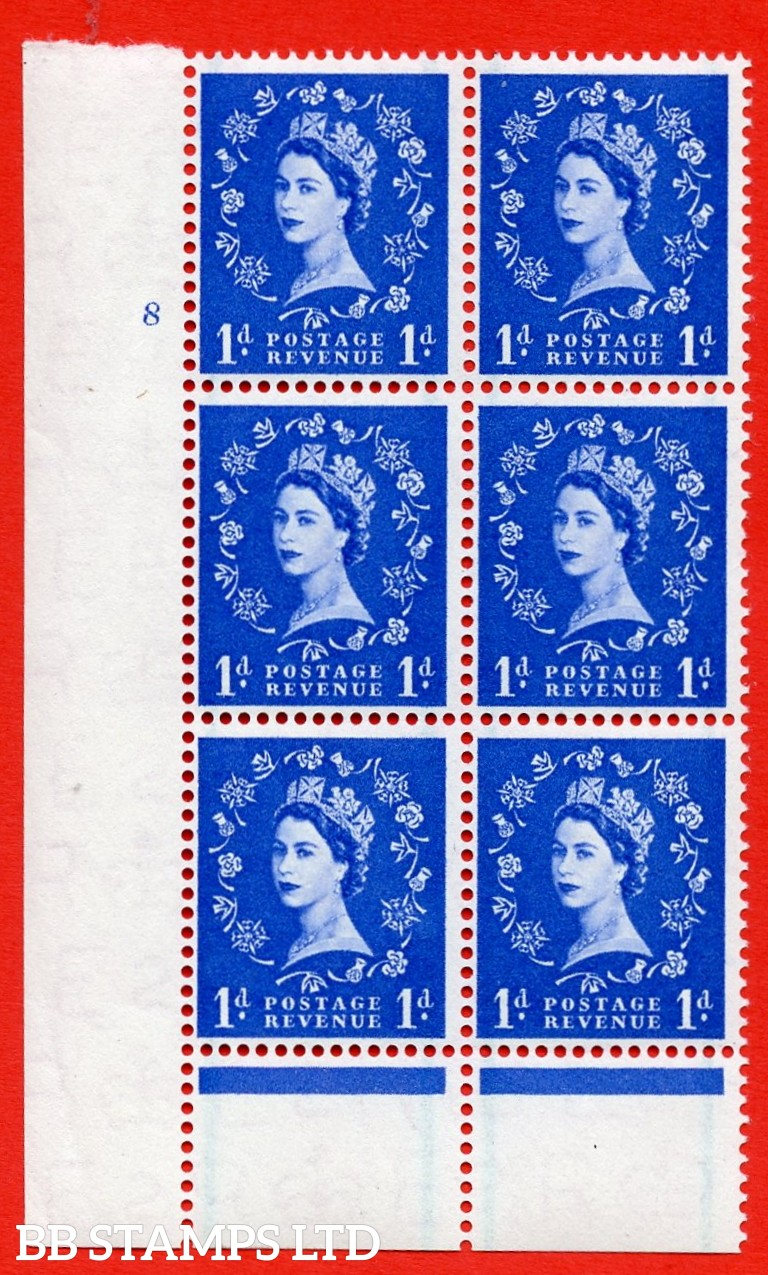 """SG. 562. S15. 1d Ultramarine. A superb UNMOUNTED MINT """" cylinder 8 no dot """" control block of 6 with perf type B I/P."""