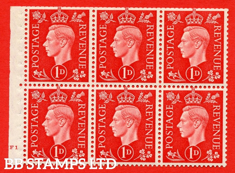 SG. QB10 Perf Type B4(E) 1d Scarlet x 6 Pane, UNMOUNTED MINT Watermark Upright. Cylinder Pane F1 no dot ( SG. 463b ) Perf Type B4(E). Trimmed Perfs.