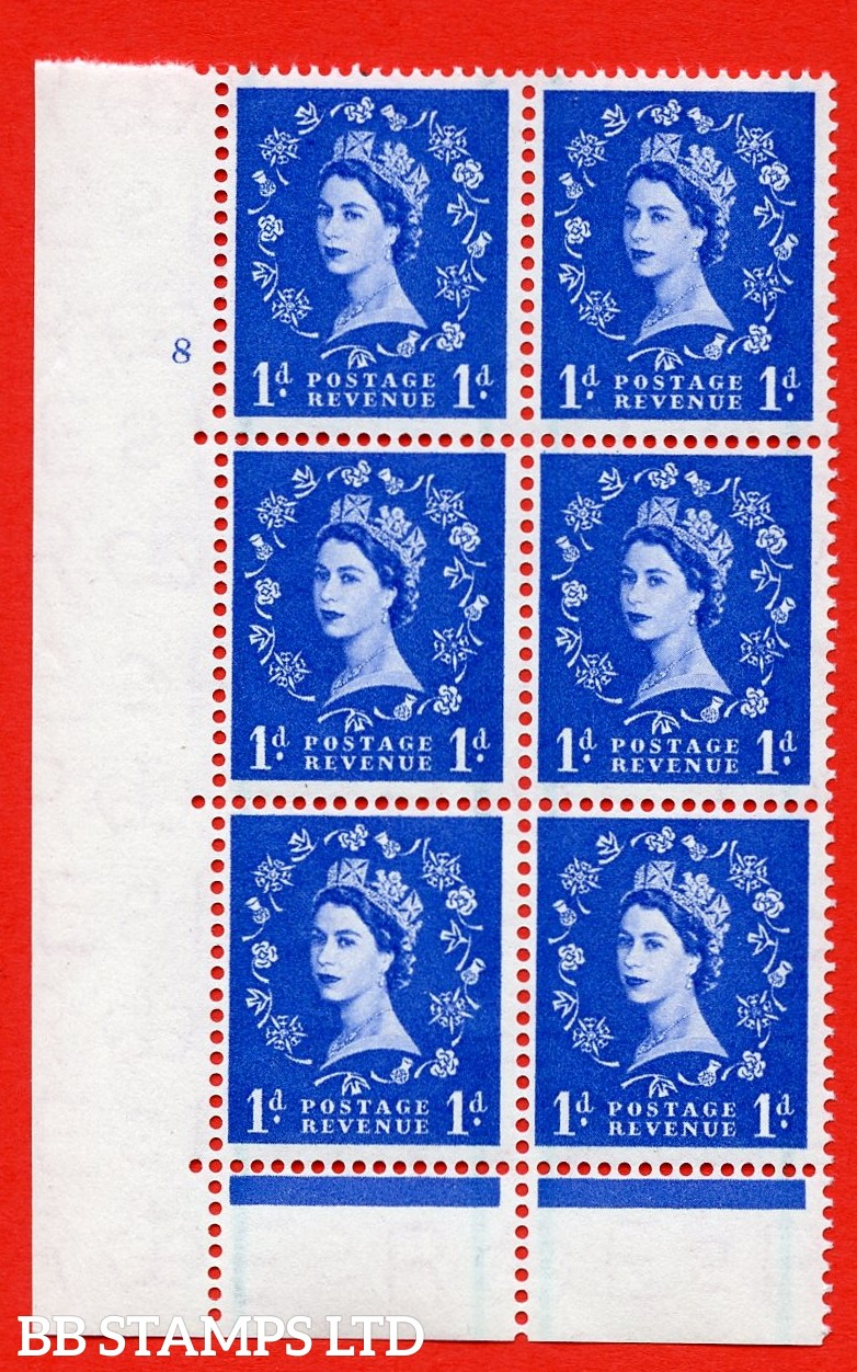 "SG. 562. S15. 1d Ultramarine. A superb UNMOUNTED MINT "" cylinder 8 no dot "" control block of 6 with perf type C E/P."