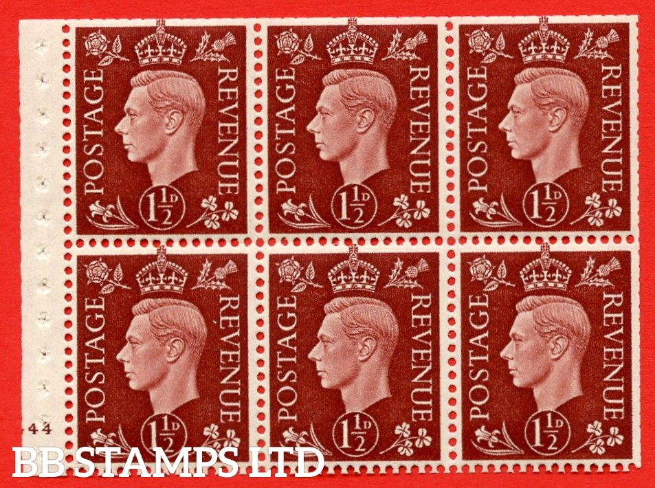 QB21 Perf Type B3(I) 1½d Red-Brown x 6 Pane, UNMOUNTED MINT Watermark Upright. Cylinder Pane G44 no dot ( SG. 464c ) Perf type B3(I). Trimmed Perfs.
