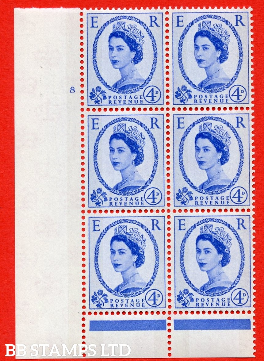 "SG.616. S89. 4d Ultramarine. A superb UNMOUNTED MINT "" cylinder 8 no dot "" control block of 6 with perf type B (I/P). Blue Phosphor Cream paper."