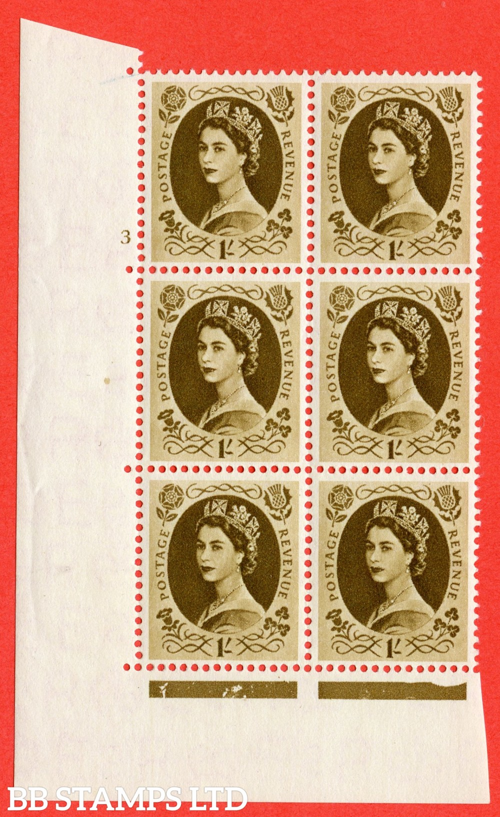 "SG. 557. S137. 1/- Bistre - brown. A superb UNMOUNTED MINT "" cylinder 3 no dot "" control block of 6 with perf type A E/I."