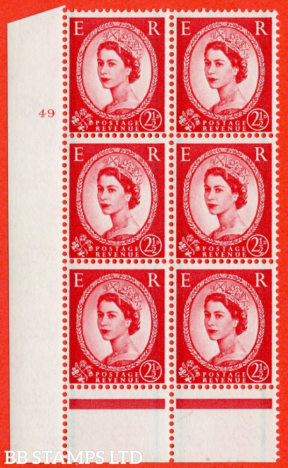 "SG. 591. S59. 2½d Carmine - red. A fine lightly mounted mint "" cylinder 49 no dot "" control block of 6 with perf type B I/P."