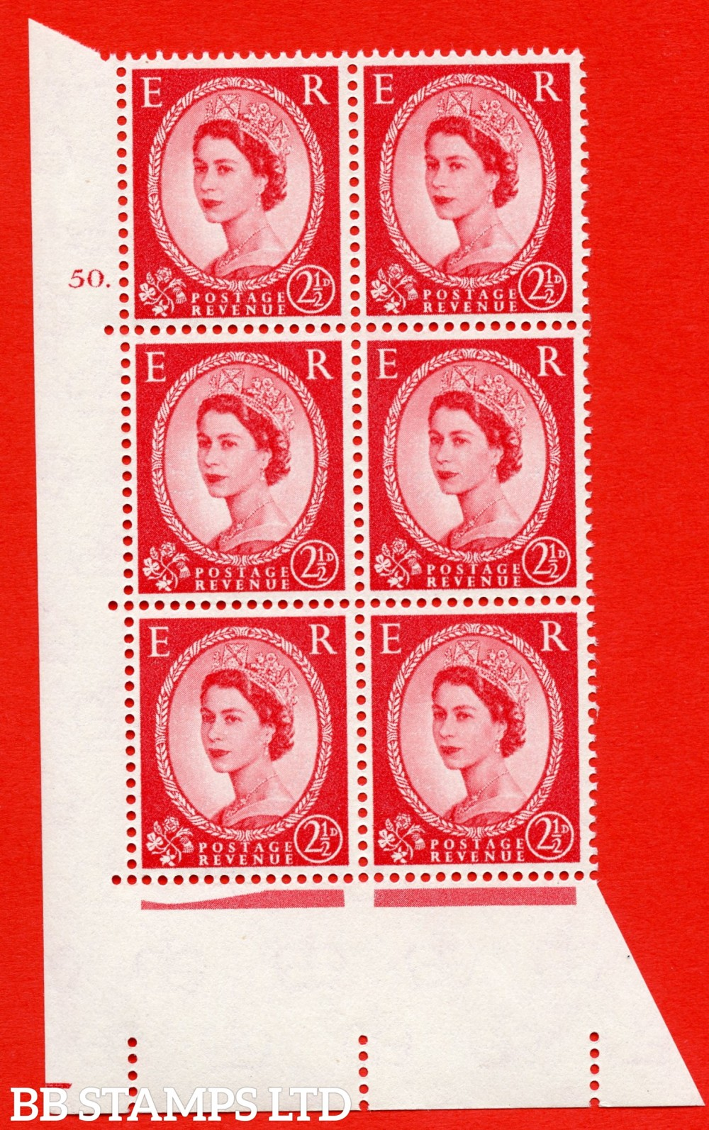 "SG. 574. S55. 2½d Carmine - red.Type II. A superb UNMOUNTED MINT "" cylinder 50 dot "" control block of 6 with perf type A E/I. CREAM paper."