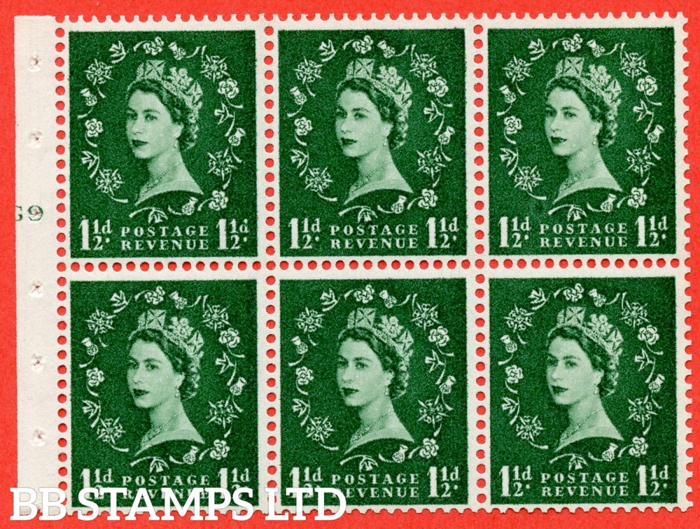 "SG. 542. SB62. 1½d green. A superb UNMOUNTED MINT cylinder "" G9 T no dot "" booklet pane of 6. Perf type (I) with GOOD PERFS. Smooth edge."