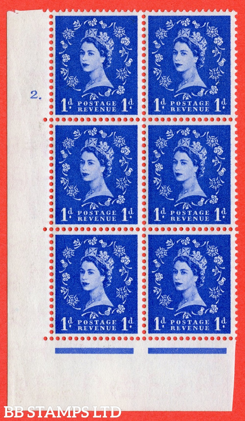 "SG. 541. S14. 1d. Ultramarine. A superb UNMOUNTED MINT "" cylinder 2 dot "" control block of 6 with perf type A E/I"