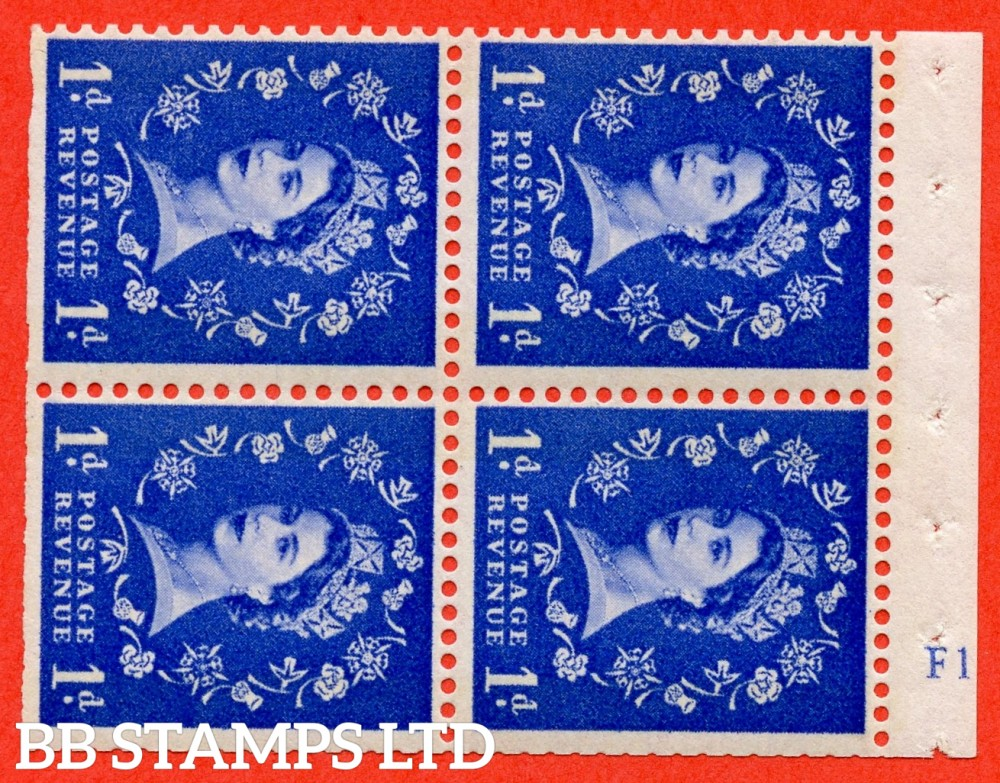 "SG. 611. SB44. 1d Ultramarine. A fine UNMOUNTED MINT cylinder "" F12 no dot "" booklet pane of 4. Perf type (I) with TRIMMEDD PERFS. Smooth edge. White Paper."