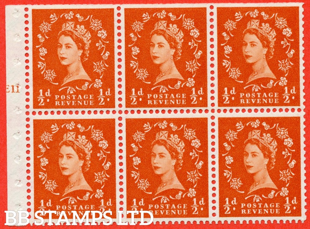"SG. 570. SB7. ½d orange - red. A fine UNMOUNTED MINT cylinder "" E11 T no dot "" booklet pane of 6. Perf type (Ieb) with TRIMMED PERFS. Smooth edge."